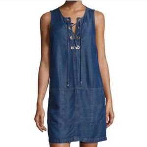 Splendid | Lace-Up Chambray Mini Dress